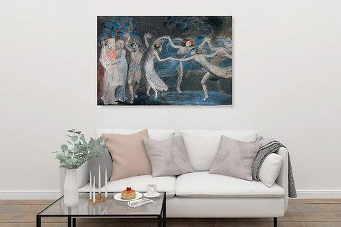 William Blake,Oberon, Titania e Puck com Fadas Dança,Fairies Dancing,quadro,reprodução,poster,canvas,gravura,replica,fototela