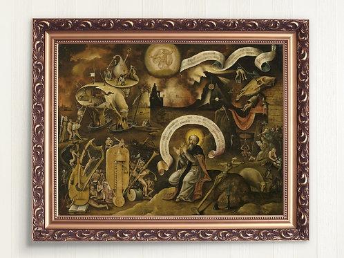 Hieronymus Bosch,The Temptations of Saint Anthony,quadro,canvas,poster,replica,gravura,reprodução,tela,pintura,giclee,fine ar