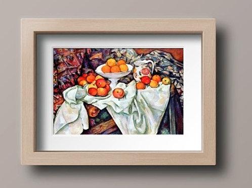 paul cezanne, natueza morta com maçãs e laranjas, quadro, poster, gravura, reprodução, canvas, replica, tela