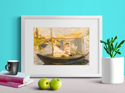 Manet, Claude Monet, barco, atelie, estudio, Argenteuil, , quadro, poster, gravura, canvas, replica, the boat, studio, 1874