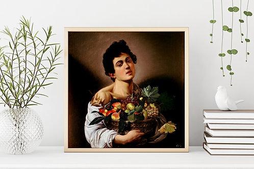 caravaggio, Menino com uma cesta de frutas, quadro, poster, replica, canvas, gravura, reprodução, tela, releitura