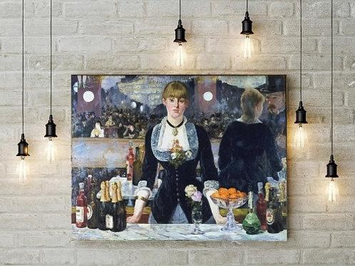 edouadr manet, Um Bar no Folies-Bergère, A Bar at the Folies-Bergere, quadro, poster, gravura, canvas, replica, reprodução