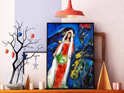 Marc Chagall,A Noiva,La Mariée,quadro,reprodução,poster,canvas,gravura,replica,fototela,tela,pintura,releitura