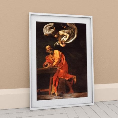 caravaggio, a inspiração de são mateus, quadro, poster, replica, canvas, gravura, reprodução, tela, releitura