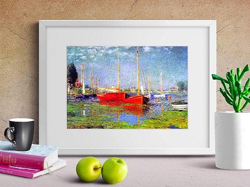 claude monet, Barcos vermelhos em Argenteuil, red boats, argenteuil, quadro, poster, replica, canvas, reprodução,gravura,tela