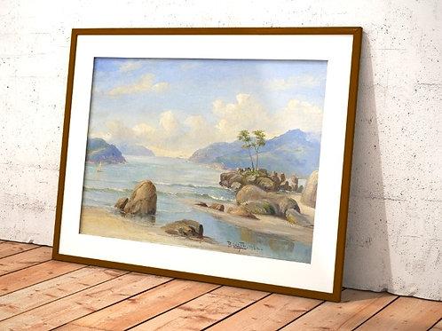 Benedito Calixto,Canto de praia,Baixada Santista,1924,quadro,canvas,poster,replica,gravura,reprodução,fototela,tela,pintura