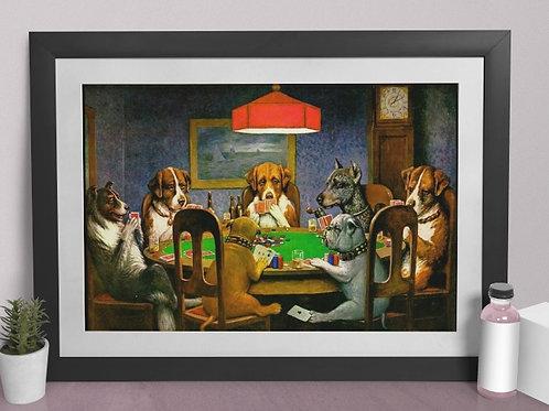 C. M. Coolidge,Cachorros,Jogo,Poker,dogs playing poker,quadro,poster,replica,canvas,gravura,reprodução,tela,fototela