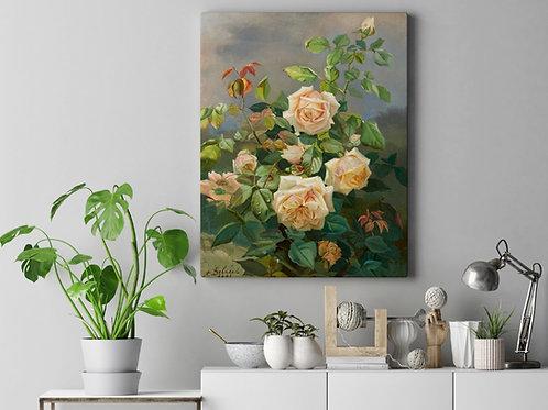 Alexandre Debrus,Rosas,Flores, ramalhete,rosa,bouquet,buquê,poster,gravura,reprodução,canvas,replica,fototela,tela,pintura