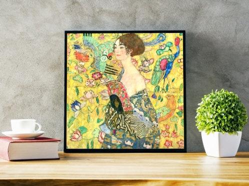 Gustav Klimt, Lady with Fan, Mulher com Leque, quadro, poster, gravura, replica, canvas, reprodução, gravura, tela, releitura