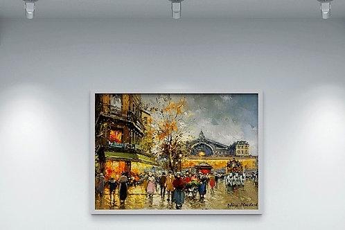 antoine blanchard, boulevard, poster de paris, cidade, paris, quadro, poster, replica, gravura, reprodução, canvas, tela