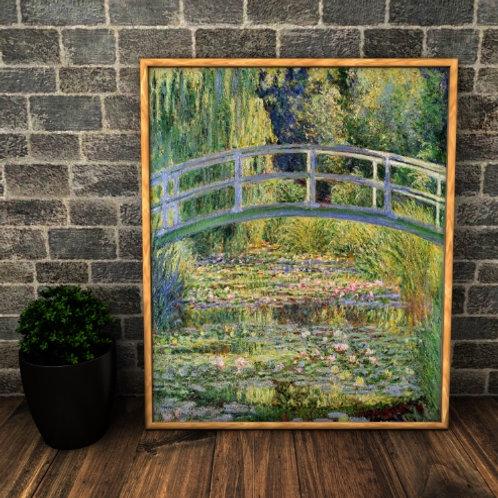 claude Monet, Lírios d'água e Ponte Japonesa, quadro, poster, replica, canvas, reprodução, gravura, tela