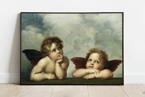 rafael sanzio, madona sistina, detalhe, anjos, rafael anjos, quadro, canvas, poster, replica, gravura, reprodução, tela