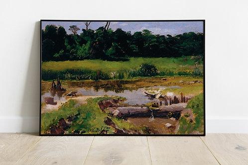 Almeida Junior, Paisagem Fluvial, quadro, poster, gravura, replica, canvas, reprodução, tela, releitura