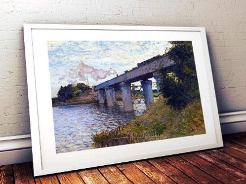 claude monet, a ponte ferroviaria, the railway bridge, quadro, poster, replica, canvas, reprodução, gravura, tela