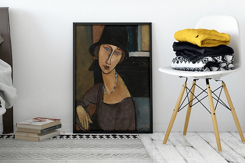 Amedeo Modigliani,Jeanne Hébuterne de Chapéu,quadro,reprodução,poster,canvas,gravura,replica,fototela,tela,pintura