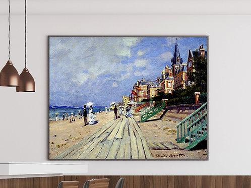 claude monet, Praia em Trouville, beach at trouville, quadro, poster, replica, canvas, reprodução, gravura, tela