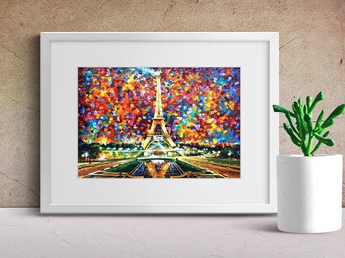 Leonid Afremov, Torre Eiffel, quadro, poster, replica, gravura, canvas, reprodução, tela, releitura