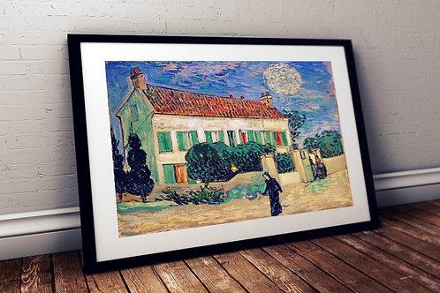 Van Gogh,Casa Branca à Noite,poster,gravura,reprodução,canvas,replica,fototela,tela,pintura