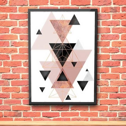 Quadro, Poster, Gravura, Escandinavo, Geométrico, Minimalista, Canvas, Triângulos, rosa, cinza, abstrato, decorativo, tela