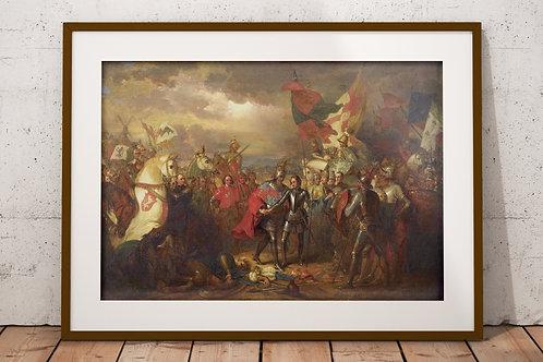 Benjamin West,Batalha dos cem dias, Edward III,quadro,poster,gravura,replica,canvas,reprodução,tela,fotela,pintura