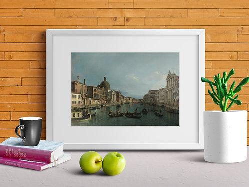 Canaletto,O Grande Canal com S. Simeone Piccolo,Veneza,quadro,poster,gravura,replica,reprodução,canvas,fototela,tela,pintura