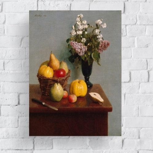 Henri Fantin Latour, Natureza Morta com Flores e Frutas,quadro, poster, replica, canvas, gravura, reprodução, tela, fototela