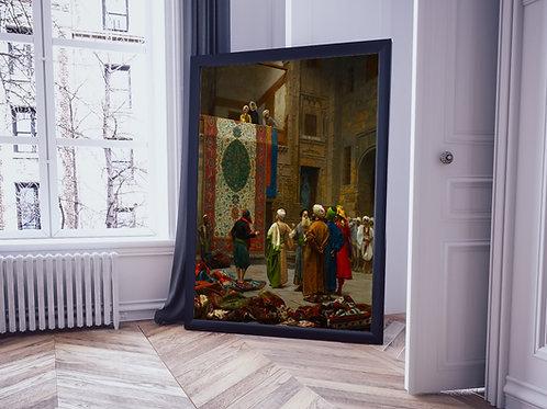 Jean-Léon Gérôme,Comerciante de Tapetes,quadro,canvas,poster,replica,gravura,reprodução,tela,pintura,giclee,fine art