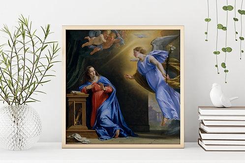 Philippe de Champaigne,Anunciação,quadro, poster, canvas, reprodução, gravura, replica, tela,pintura,fototela