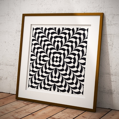 Quadro, Poster,3d,Gravura,Op Art,Arte Ótica,ilusão ótica,Minimalista, Canvas, branco, preto, abstrato, decorativo, fototela