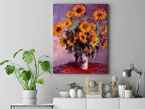 claude Monet, Girassóis, sunflowers, quadro, poster, replica, canvas, reprodução, gravura, tela