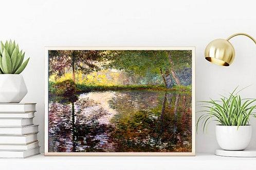 claude monet,Monet,Lagoa em Montgeron,Pond at Montgeron,quadro,poster,replica,canvas,reprodução,gravura,tela,pintura,fine art