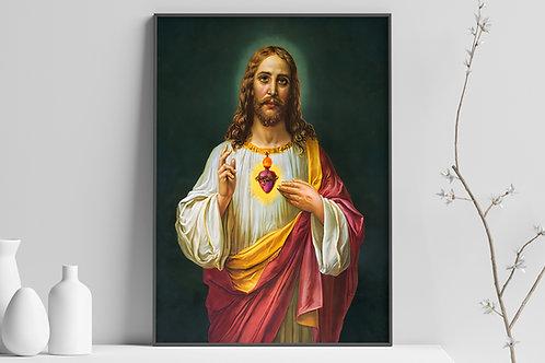Sagrado Coração de Jesus,quadro,religioso,religião,Jesus,católico,poster,replica,gravura,canvas,reprodução,tela,giclee