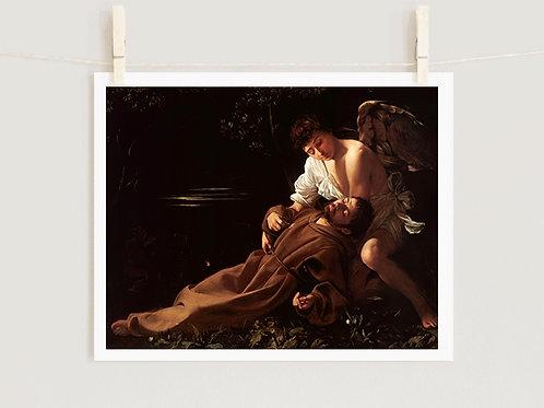 Caravaggio,São Francisco em Êxtase,quadro,reprodução,poster,canvas,gravura,replica,fototela,tela,pintura,releitura