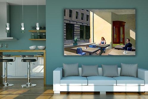 Edward Hopper,Luz,sol,Cafeteria,sunlight,coffee shop,realismo,poster,gravura,reprodução,réplica,canvas,releitura,tela,pintura