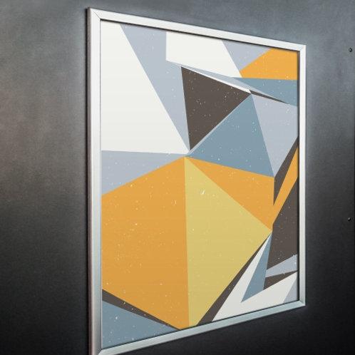 quadro, Poster, Escandinavo, Geométrico, Minimalista, Gravura, Canvas, Tela, triângulos, cinza, amarelo, abstrato, decorativo