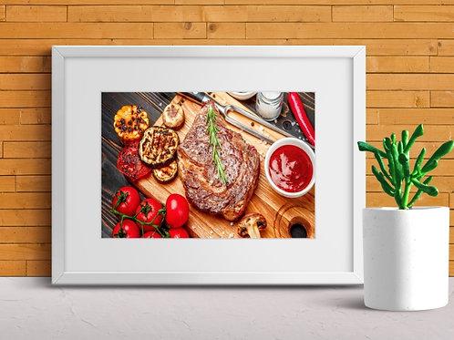 quadro,poster,gravura,canvas,foto,tela,fotografia,cozinha,Alimento,Carne,Grelhada,tomate,tempero,sala,jantar,varanda gourmet