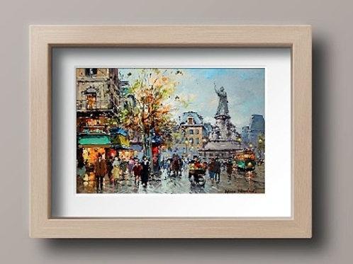 antoine blanchard, paris, praça da republica, quadro, poster, replica, gravura, reprodução, canvas, tela