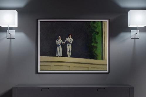 Edward Hopper,Dois Comediantes,Two Comedians,1965,realismo,poster,gravura,reprodução,réplica,canvas,releitura,tela,pintura