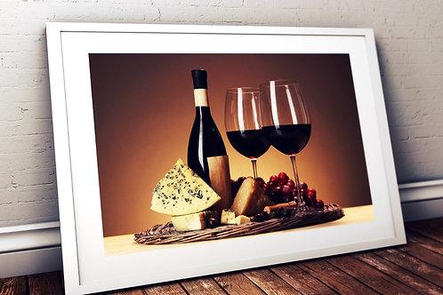 Garrafa,Taças,Vinho,queijos,adega,cozinha,sala,de,jantar,estar,poster,gravura,reprodução,réplica,canvas,tela,pintura,fine art