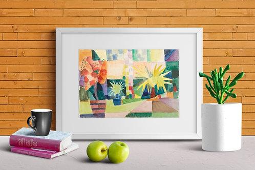 august macke, Jardim no Lago Thun, Árvore de Romã e Palmeira no Jardim, 1914, quadro, reprodução, poster, canvas,gravura