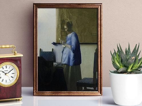 Johannes Vermeer, Mulher de azul lendo uma carta, quadro, poster, gravura, reprodução, canvas, replica, fototela, foto tela