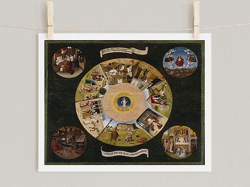Hieronymus Bosch,Os 7 Pecados Capitais,quadro, reprodução,poster,canvas,gravura,replica,tela,fototela,fine art,pintura