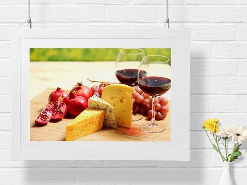 Taças de Vinho,Queijos,Romãs,adega,cozinha,poster,gravura,reprodução,réplica,canvas,tela,pintura,fine art