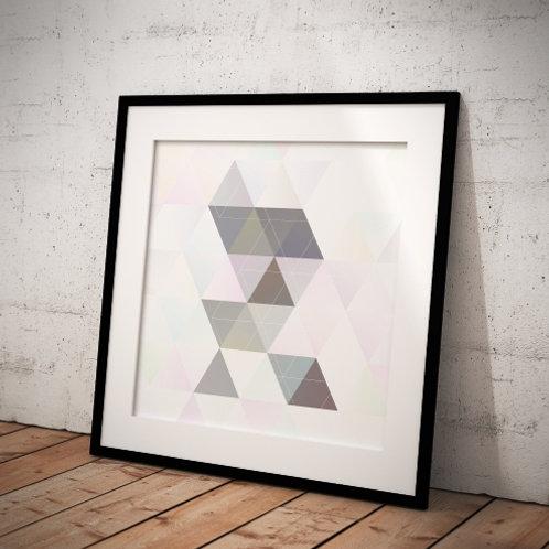 Quadro, Poster, Gravura, Escandinavo, Geométrico, Minimalista, Canvas, Triângulos, branco, cinza, abstrato, decorativo, tela