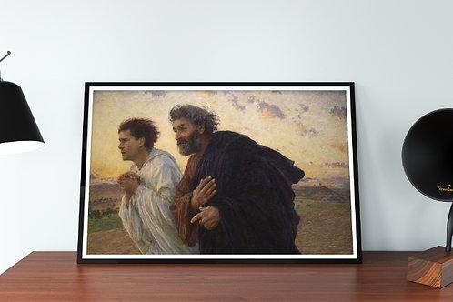 Eugène Burnand,Pedro e João,correndo,tumba,quadro,poster,gravura,replica,reprodução,canvas,fototela,tela,pintura,releitura