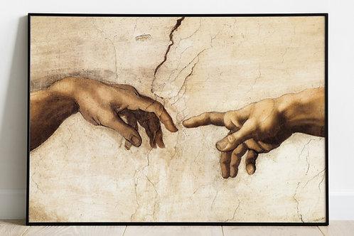 Michelangelo, A, Criação, de, Adão, Detalhe, de, Deus, mãos, de, Adão, teto, Capela Sistina, quadro, poster, gravura, canvas,