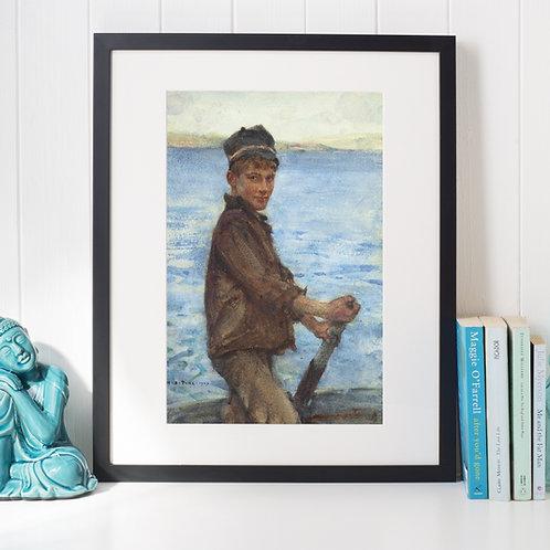 Henry Scott Tuke,Dirigindo o Ponto,barco,menino,garoto,quadro, canvas, poster,replica,gravura,reprodução,tela,fine
