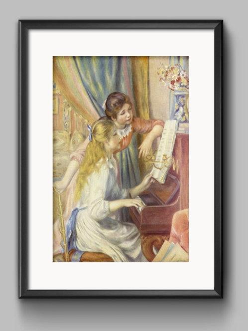 renoir Meninas no Piano, meninas ao piano, Two Young Girls at the Piano, quadro, poster, gravura, replica, reprodução, canvas