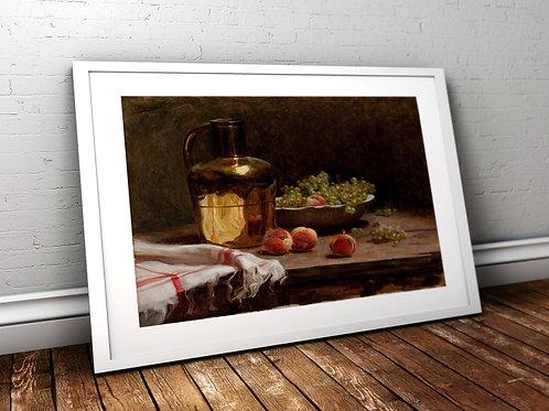Pedro Alexandrino,uvas e pêssegos,artista,brasileiro,quadro,poster,gravura,canvas,replica,reprodução, fototela,tela,pintura