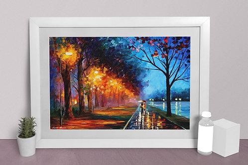 Quadro decorativo, sala, casal, parque, noite,Leonid Afremov,Espatulado, quadro, poster, replica, gravura, canvas, reprodução